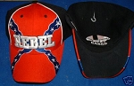 Rebel Confederate Battle Flag Hat - New Black Embroidered