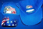 New Blue USA Flames Hat