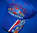 Confederate Border Patrol Battle Flag Hat - Blue - New