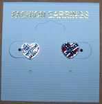 Earrings Heart Confederate Battle Flag