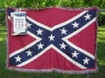 Rebel Confederate Battle Flag Afghan Throw Blanket - New