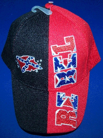 Rebel Confederate Battle Flag Hat - New Black & Red Embroidered