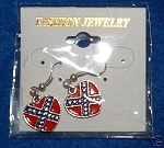 Earrings Dangle Heart Confederate Battle Flag