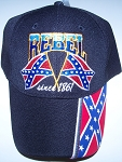 Ball Cap Embroidered Rebel since 1861 Battle Flag Hat - New