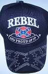 Ball Cap Embroidered Rebel And proud of it Confederate Battle Flag Hat