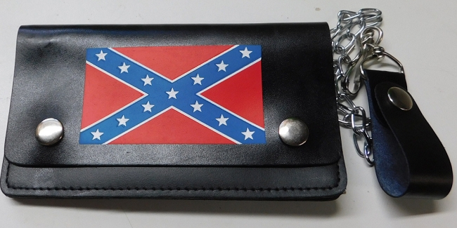 Confederate Rebel Battle Flag Leather Wallet