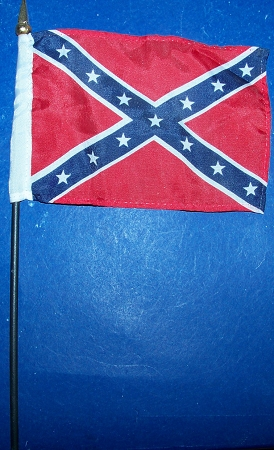 Confederate Battle Flag Rebel CSA  4 x 6 inch on stick New