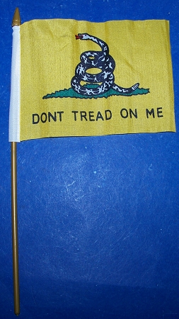 Don't Tread On Me Flag  4 x 6 inch on stick New