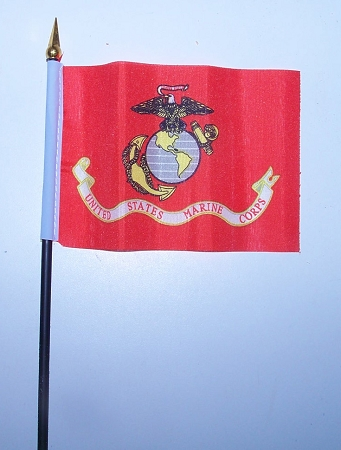 United States Marines Stick Flag 4 x 6 inch