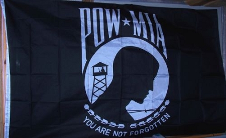 POW MIA Flags Polyester White & Black