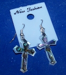 Mother Of Pearl Cross Paua Dangle Shell Earrings
