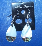 Mother Of Pearl Paua Teardrop Dangle Shell Earrings