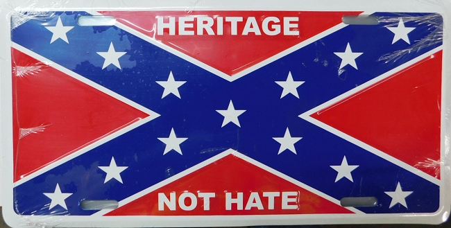 Rebel Confederate Flag With Heritage Not Hate Metal Car Tag