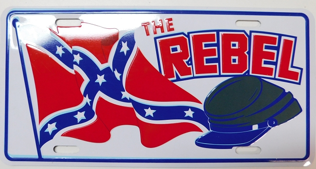The Rebel Metal Car Tag