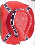 Full Confederate Battle Flag Rebel  Cowboy Hat - New