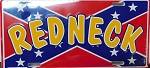 Rebel Confederate Flag With Redneck Metal Car Tag