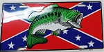 Rebel Confederate Flag with Bass  Metal Car Tag