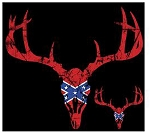18408 Confederate Battle Flag Deer Skull Shirt