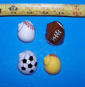 Sports Balls Painted Hermit Crab Shells - Lot of 4