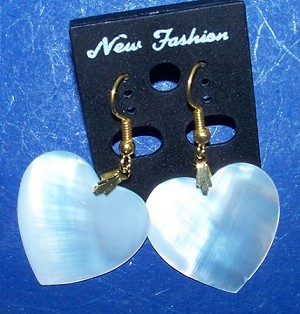 Mother Of Pearl Dangle Heart Shell Earrings