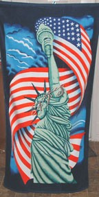 "30"" x 60"" American Flag Statue of Liberty Beach Towel New"