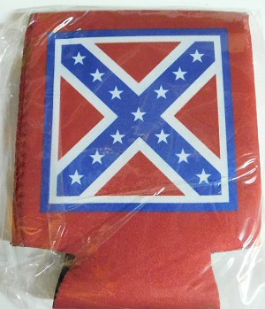 Confederate Rebel Battle Flag Can Cooler Holder New
