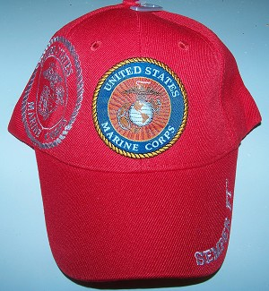 United States Red Marine Embroidered  Ball Cap -  Hat