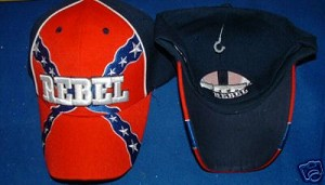 Rebel Confederate Battle Flag Hat - New Dark Blue Embroidered