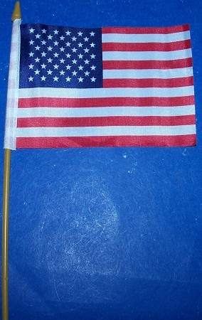 USA American Flag  4 x 6 inch on stick New