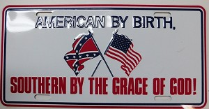 American Confederate Flag American By Birth Metal Car Tag